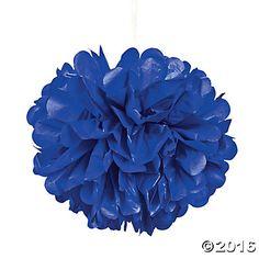 Blue Tissue Paper Pom-Pom Decorations