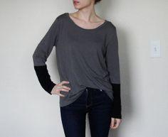 Colorblock Scoopneck T Shirt Gray