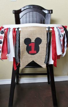 Mickey Mouse Birthday Garland, High Chair Garland, High Chair Banner by CrestlineCreatives on Etsy https://www.etsy.com/listing/177460719/mickey-mouse-birthday-garland-high-chair