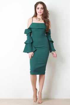 This bodycon dress features tiered neckline, open shoulders, tiered ruffle sleeves, midi length, and hidden back zipper closure. Accessories sold separately. 10