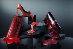 Melting shoes on plinths for Tatler Magazine