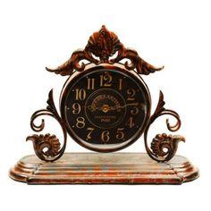 Ashton Sutton Antique Table Clock with Iron Decoration