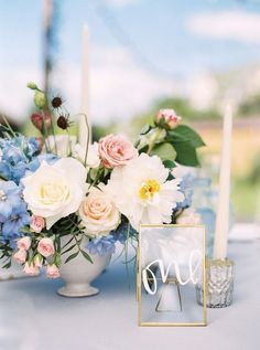 Blue Wedding Flowers sweet summer time wedding table decor - This Summer Wedding in Ukraine is so photogenic we can hardly stand it, you totally need to see this! Blue And Blush Wedding, Blush Wedding Colors, Summer Wedding Colors, Blush Pink Weddings, Floral Wedding, Wedding Flowers, Trendy Wedding, Pink Summer, Summer Flowers