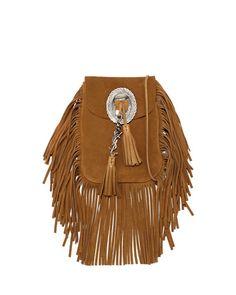 V2K0V Saint Laurent Anita Suede Flat Fringe Crossbody Bag, Camel