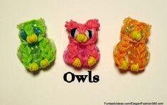 Rainbow Loom Owl Charm - How to - Animal Series tutorial by Elegant Fashion Rainbow Loom Tutorials, Rainbow Loom Patterns, Rainbow Loom Creations, Rainbow Loom Bands, Rainbow Loom Charms, Rainbow Loom Bracelets, Loom Band Animals, Rainbow Loom Animals, Loom Love