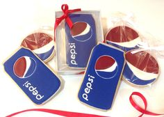 Pepsi Logo and Pepsi soda can cookies!  All hand drawn!