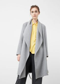 Wide lapel wool-blend coat - Coats for Women | MANGO USA
