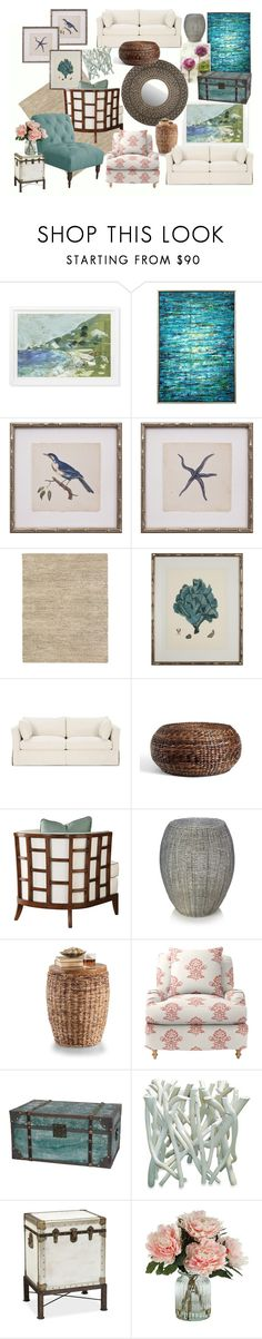 seaside living room by jacki-robbins on Polyvore featuring interior, interiors, interior design, home, home decor, interior decorating, Tommy Bahama, Serena & Lily, Pottery Barn and Jeffan