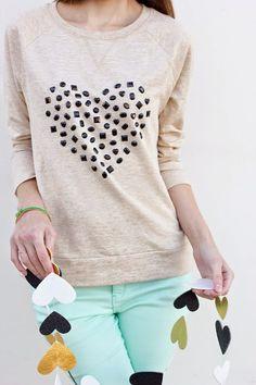 Sweater make over using adhesive gems Studio DIY