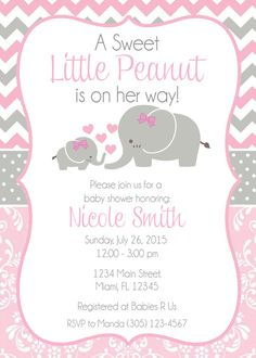 baby shower invitation baby elephant themed baby shower invitation cute baby shower invitaiton girl baby shower printable invitation