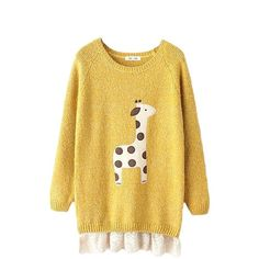 Cute Cartoon Giraffe Lace Patchwork Ugly Christmas Sweater (150 RON) ❤ liked on Polyvore featuring tops, sweaters, yellow, giraffe sweater, yellow top, lacy sweater, beige sweater and giraffe print sweater