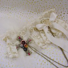 Victorian style soft cotton lace wedding garter in a lovely vintage cream with old gold flowers The cream lace is 3 1 2 deep and is gently gathered