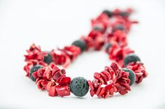 Chunky Red Coral Necklace Beaded Black Lava Elegant by DevikaBox, $60.00