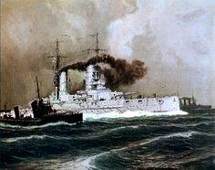 German battleship KONIG firing her broadside, 1916