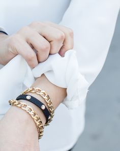 love this leather + gold chain wrap bracelet!