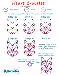 Rainbow Loom Heart Bracelet Instructions Page can find Loom bands and more on our website.Rainbow Loom Heart Bracelet Instructions Page 1 Rainbow Loom Bracelets Easy, Loom Band Bracelets, Rainbow Loom Tutorials, Rainbow Loom Patterns, Rainbow Loom Creations, Rainbow Loom Bands, Rainbow Loom Charms, Heart Bracelet, Crazy Loom Bracelets