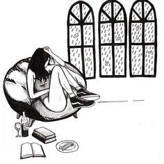 "old drawing from series ""Sad Girls Club"" #sketch #illustration #drawing #ink #lowbrowart #minimalism #blackandwhite #femaleartist #sadgirl #sadgirlsclub #stayhome #rainyday #autumn #raining #readbooks #melanholy #glambeckett"