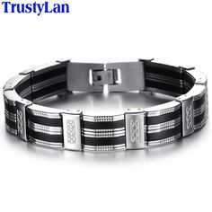 TrustyLan Accessory Men Bracelet Brazalet High Quality Stainless Steel & Black Silicone Mens Bracelets Jewelry Wristbands Band