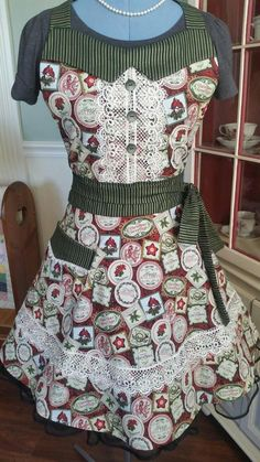 Check out this item in my Etsy shop https://www.etsy.com/listing/578145289/vintage-christmas-apron-feminine-and