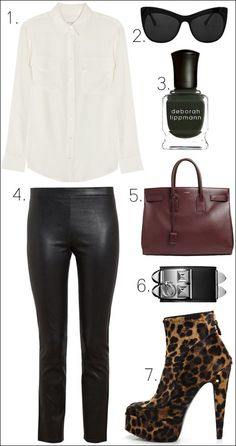 LE FASHION BLOG EBAY COLLECTIONS OUTFIT COLLAGE EQUIPMENT SIGNATURE SHIRT VINCE LEATHER CROPPED PANTS HERMES SILVER BLACK STUD COLLIER DE CH...