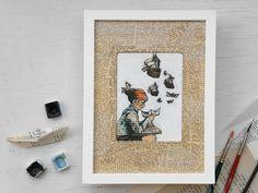 Maritimes Papierschiff Bild auf Buchseite, für Bücher liebende Kunstfreunde, handbemaltes Unikat Geburtstagsgeschenk , Wanddeko beige, Kunst