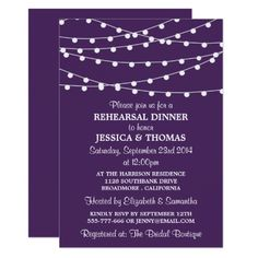 Purple Modern String Lights Rehearsal Dinner Card