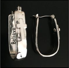 Believe Cross hoop earrings