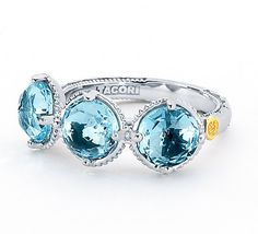 The trilogy of Sky Blue Topaz.  I heart this ring from TACORI! Style no: SR14102 $360