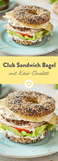 High out: Club sandwich bagels with cheese omelette - Delicious architectural wonder: Layer by layer, chive-cream cheese, lettuce, tomato pile up and, to - Bagels Sandwich, Sandwich Recipes, Best Breakfast Sandwich, Vegan Breakfast Recipes, Omelettes, Sandwiches For Lunch, Wrap Sandwiches, Cheese Omelette, Snacks Für Party