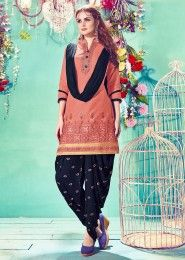 Casual Wear Peach Cotton Embroidered Work Patiala Suit