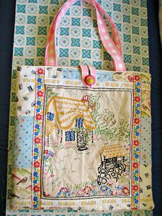Sweet Vintage Cottage Embroidery Tote Market Bag