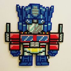 Optimus Prime Transformers perler beads by dazer24