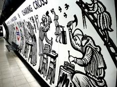 Underground mural at Charing Cross tube station, showing the original construction of Charing Cross