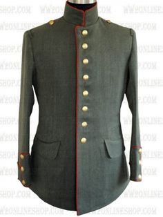 Replica of German WWI Imperial M1910 Officer Jacket (Red Piping) for Sale