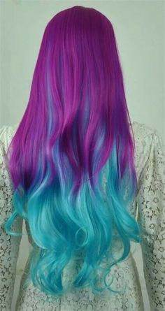 Vivid Plum and Electric Cyan Wig