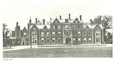 The Front Side: 1870 - The view of the original house from the Front Side. The entrance to the house is under the porte cochere. To the far left is the back side of the original conservatory turned billiards room. Later, Edward VII added a new ballroom and clock tower wing – that had it's own entrance on the Front Side.