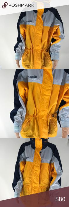 Columbia Women's anniversary edition dicks store Vintage excellent condition  100% polyester  Yellow / navy 23 inches armpit to armpit  30 inches long  Can have sinched waist Columbia Jackets & Coats
