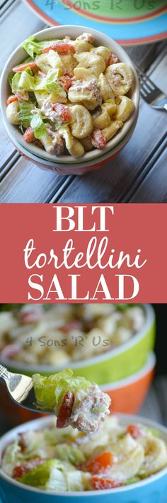 This creamy tortellini based pasta salad is a perfect all-in-one Summer meal. Featuring cheese-stuffed tortellini, crisp crumbled bacon, leafy pieces of fresh romaine lettuce, and sliced grape tomatoes– everything's tossed in a rich, creamy dressing befor Tortellini Salad, Pasta Salad, Cheese Tortellini Recipes, Tortellini Bake, Food Salad, Easy Salad Recipes, Healthy Recipes, Fun Recipes, Healthy Eats