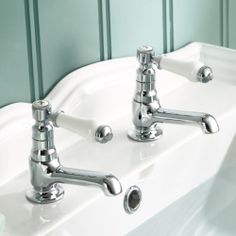 Chrome Traditional Bathroom Lever Handle Basin Sink Hot & Cold Twin Taps TB134 | eBay