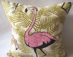 Strut Flamingo Pillow COVER by FrenchSilver on Etsy