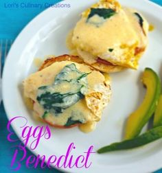 Eggs Benedict with Fresh Spinach and Hollandaise Sauce  l  www.lorisculinarycreations.com  l  #eggs #brunch #breakfast