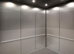 CabForms 1000-C Elevator Interior with main panel facing in Stainless Steel, Seastone Finish; accent areas in Stainless Steel, Seastone finish, Stripe Eco-Etch pattern; Round handrails in Satin Stainless Steel