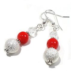 Christmas Red Earrings with Silver and by BrankletsNBling on Etsy, $9.99