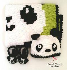 Panda Baby Blanket, Booties and Beanie Set. These are great for a baby shower gift.