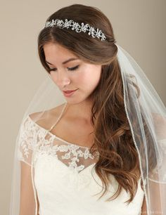 Available at Rosa's Shop 4352 Sepulveda Blvd Culver City Ca 90230 Style 6637 Sty. - Available at Rosa's Shop 4352 Sepulveda Blvd Culver City Ca 90230 Style 6637 Style 6637 In Gold Beautiful rhinestone headband Shimmer with sumptuo. Wedding Hairstyles With Veil, Elegant Hairstyles, Headband Hairstyles, Down Hairstyles, Curly Hairstyle, Wedding Headband, Rhinestone Headband, Wedding Hair And Makeup, Hair Wedding