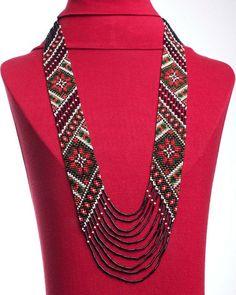 Traditional Ukrainian gerdan (beadwoven necklace - here, beadloomed) by koraliky on Etsy