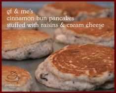 gluten free cinnamon bun pancakes: OMG - gf and me Gluten Free Waffles, Gluten Free Flour, Gluten Free Baking, Dairy Free, Cinnamon Bun Pancakes, Pancakes And Waffles, Delicious Breakfast Recipes, Yummy Food, Paleo Breakfast
