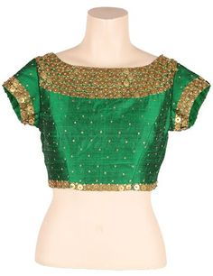 G3 exclusive green raw silk readymade blouse | G3-RB0281
