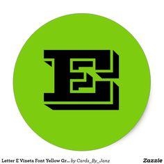 Letter E Vineta Font Yellow Green Stickers by Janz