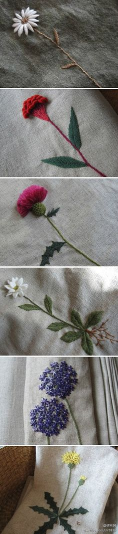 Bordado. Flores.